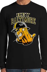 Baltimore Flag Hey Baltimore Pittsburgh Guy With Middle Finger Thermal Long