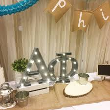 alpha phi marquee lights recruitment brag table display