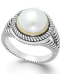 10mm ring cultured freshwater pearl rope ring in sterling silver and 14k
