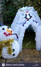 garden igloo christmas garden igloo and snowman decorations made from plastic