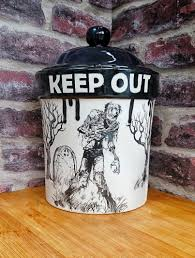 zombie treat jar halloween cookie jar biscuit barrel hand