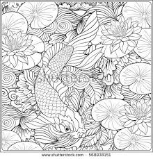 japanese landscape lotus fish outline drawing stock vector