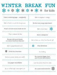 fun winter break kids free printable