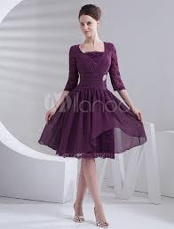 short purple prom dress half sleeves milanoo com