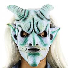 Masquerade Halloween Costumes Scary Funny Silver Horn King Ghost Mask Long Wig Haunted