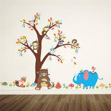 stickers arbre chambre b forêt animaux wall sticker arbre hibou ours éléphant décorations