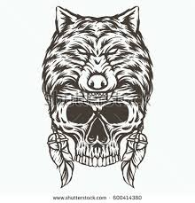 indian skull wolf drawing stock vector 600414380