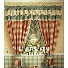 Lace Curtains And Valances Organic Princess Country Cotton Red Beige And Sage Green Plaid