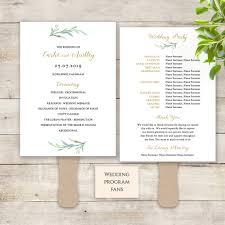 printable wedding program fans fan wedding program paddle fan greenery printable wedding