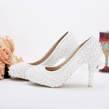 pearl wedding shoes pearl bridal shoes white lace wedding shoes high heels evening
