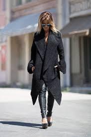 coat women black coat winter wool coat asymmetrical coat