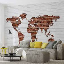 brick wall world map photo wallpaper mural 2853wm consalnet brick wall world map photo wallpaper mural 2853wm
