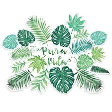 pura vida sticker palm leaves and monstera watercolor de la