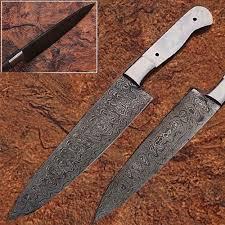 custom handmade damascus copper guard chef knife bone handle