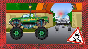 kids monster truck videos monster truck with tow truck cartoons for children cars