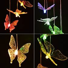 solar powered wind chime light image color changing windlights solar powered led butterfly wind