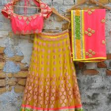 best yellow net lehenga choli v12788k