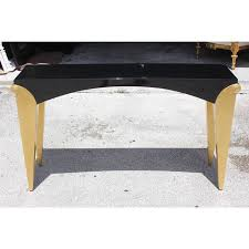 black lacquer console table exceptional beautiful french art deco giltwood black lacquered