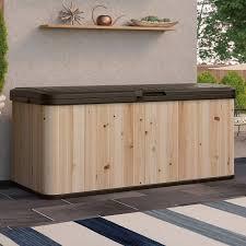 suncast 120 gallon cedar and resin deck box u0026 reviews wayfair