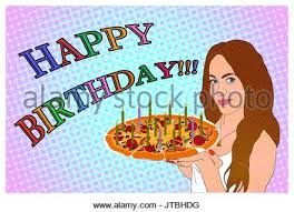 birthday greeting card with funny woman and pie stock vector art