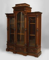 book case with glass doors american victorian eastlake walnut bookcase with column sides and