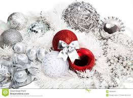 christmas red and silver decorations royalty free stock image