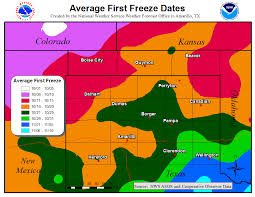 Colorado Weather Map by First Freeze Map
