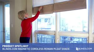 Blackout Cordless Roman Shades Blinds Com Magnetic Cordless Roman Pleat Shade Video Gallery