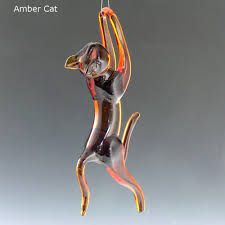 hanging cat ornaments working glass