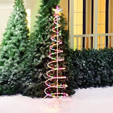 green spiral lighted tree holiday time 6 multi color spiral christmas tree light sculpture