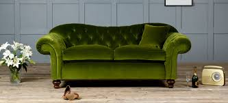 Chesterfield Sofa Cushions by Living Room Green Fabric Cotton Velvet Nice Soft Pile Loveseat