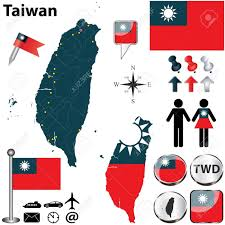 Taiwan Country Flag Taiwan Set With Detailed Country Shape With Region Borders Flags