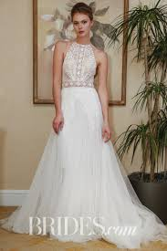 lihi hod wedding dress lihi hod halter neckline a line dress with tulle skirt 2018