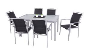 viena 7 piece dining set silver