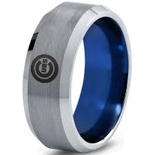 chicago wedding band chicago cubs silver brushed beveled ring with blue interior d