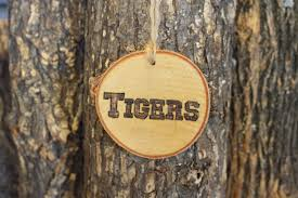 st louis rams ornament handwoodburned log slice ornament block