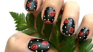 easy rose u0026 polka dot nail art long u0026 short nails youtube