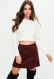 crop top sweater white knitted frill detail cropped sweater missguided