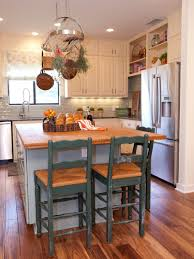 wood kitchen island table cylinder glass vase flower small kitchen island table ideas green