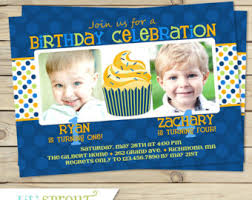 sibling triple birthday party invitation cupcake and