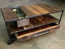 wood coffee table with wheels amazing rustic industrial coffee table custom made industrial coffee