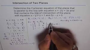 cartesian equation of plane contains intersection of two plains