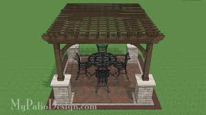 Large Brick Patio Design With 12 X 16 Cedar Pergola Outdoor by 16x16 Cedar Pergola Design With Columns Downloadable Plan