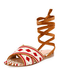 gianvito rossi embroidered suede sandals in brown lyst