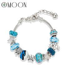 pandora bracelet styles images Ocean style blue crystal glass beadas charm bracelets bangles jpg