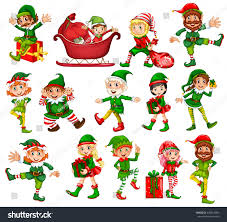 christmas elf different positions illustration stock vector