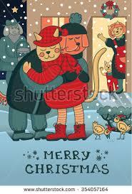 winter hugs merry christmas card two stock vector 496118728