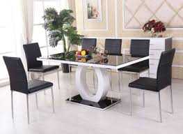 modern black and white dining room colors with luxury furniture