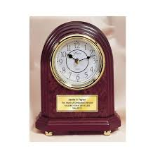 anniversary clocks engraved classic arch desk engraved clock with gold foot base and gold engravin
