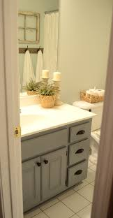 Framed Bathroom Mirror Guest Bathroom Update U2013 Stained Wood Framed Bathroom Mirror